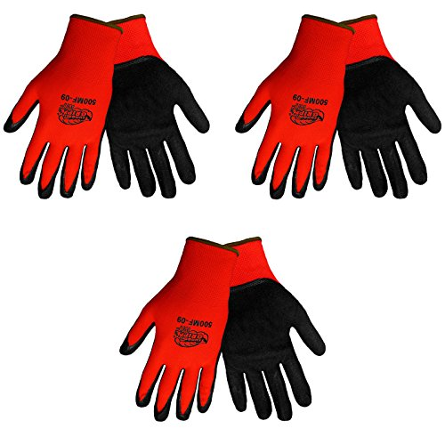 Tsunami Grip 500MF Nitrile Coated Work Gloves Sizes Small-XL, Red/Black, (3 Pair Pack) (Large) (Tsunami Grip)