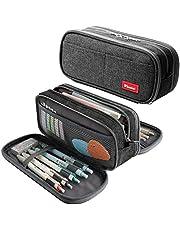 Large Pencil Case Big Capacity Pencil Bag Large Storage Pouch 3 Compartments Desk Organizer Marker Pen Case Simple Stationery Bag Pencil Holder