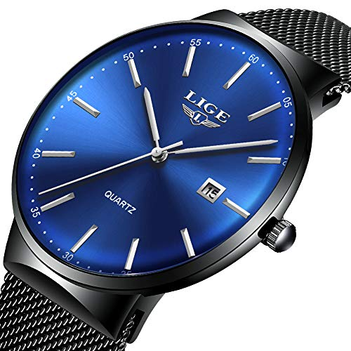 Mens Watches,LIGE Watches Men Fashion Sports Waterproof Stainless Steel Mesh Wristwatch Men Bussiness Dress with Date Black Blue Analog Quartz Watch Man ... ...