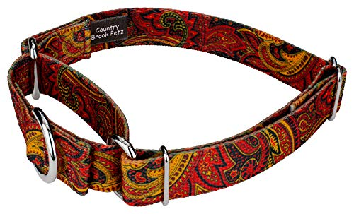 Image of Country Brook Petz | Fire Paisley Martingale Dog Collar (Medium)