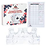 Ever Crescent Supplies Canasta Cards with Point Values, Tray and Score Pads Set. Includes 2 Deck of Cards, Revolving Holder, and 50 Scoring Sheets.