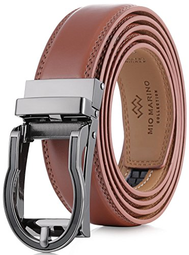 (Marino Men's Genuine Leather Ratchet Dress Belt with Open Linxx Buckle, Enclosed in an Elegant Gift Box - Light Tan - Style 65 - Custom: Up to 44