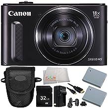 Canon PowerShot SX610 HS Digital Camera (Black) 8PC Accessory Bundle – Includes 32GB SD Card + Point & Shoot Case + 2 Replacement Batteries + MORE