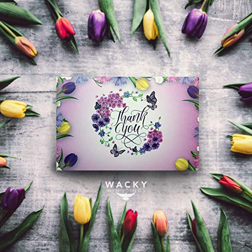 54 Floral Thank You Cards - Watercolor Bulk Notes Card - Papyrus Rustic Postcards Blank Inside with Envelopes for Engagement Wedding Cute Baby Shower Bridal Baptism Birthday Girl Small Funeral Note Photo #8