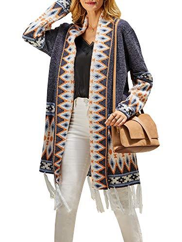 Wool Boyfriend Cardigan (Ferbia Women Boho Cardigan Open Front Long Maxi Knit Sweaters Aztec Tribal Tassel Fringe Thin)