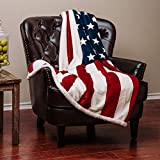 Chanasya Super Soft Ultra Plush Cozy Warm Patriotic US Flag Print Sherpa Gift Throw Blanket- US Flag Print Couch Bed Throw Blanket