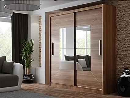 Dako Dormitorio Armario Espejo Armario de Puertas correderas Boston Nogal 6.6 ft/203 cm Anchura: Amazon.es: Hogar