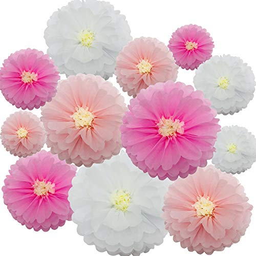 zorpia 12 Pieces Paper Flower Tissue Paper Chrysanth Flowers DIY Crafting for Wedding Backdrop Nursery Wall Decoration