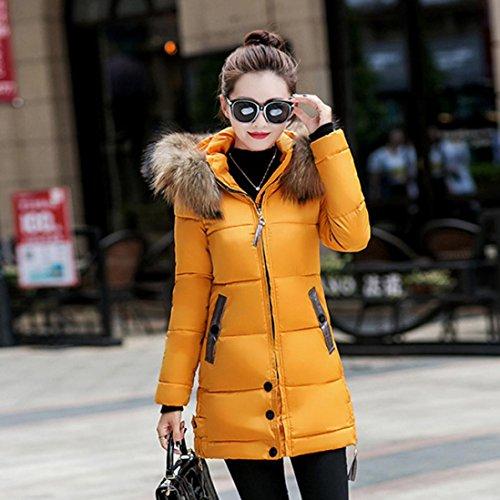 imbottito lungo giallo donna Cappotto con piumino giacca dCTHqp