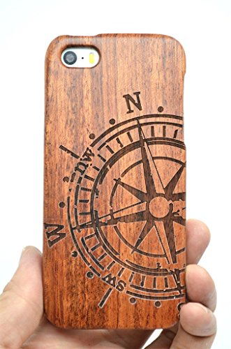 VolksRose iPhone SE iPhone 5S iPhone 5 Wood Case - Rose Wood Compass - Premium Quality Natural Wooden Case for your Smartphone and Tablet (Wood Component)