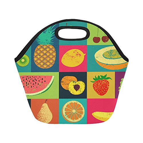 (InterestPrint Vintage Fruit Strawberry Watermelon Reusable Insulated Neoprene Lunch Tote Bag Cooler 11.93