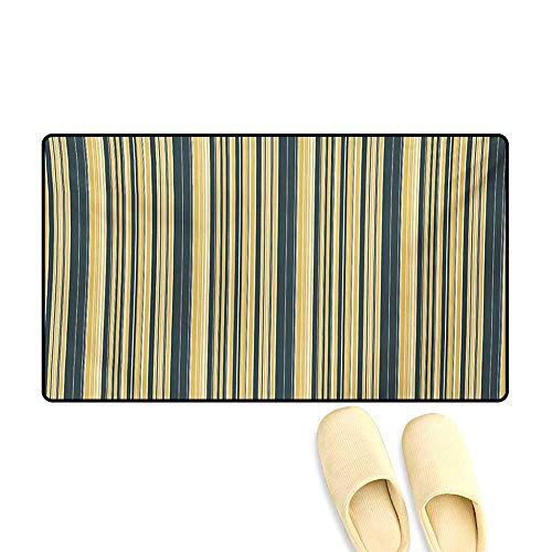 Doormat,Barcode Style Pattern in Retro Colors Straight Parallel Vertical Lines,Bath Mat for Tub,Yellow Dark -