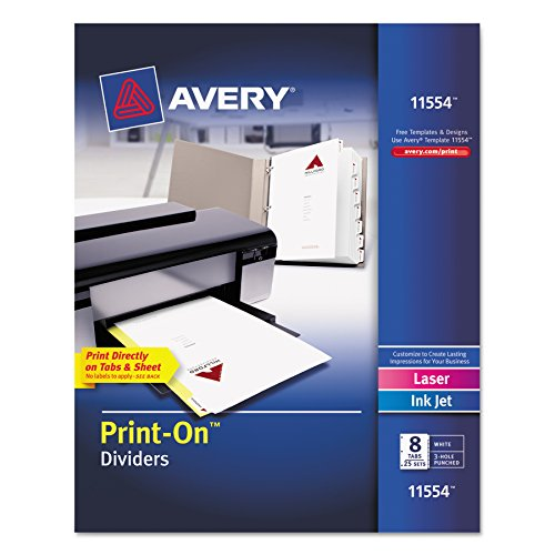 Avery 8-Tab Print-On Binder Dividers, White Tabs, 25 Sets - Pack 8 Tab