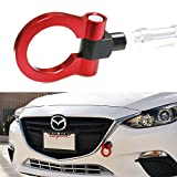 iJDMTOY Sports Red Track Racing Style Aluminum Tow Hook For 2014-up Mazda3 Mazda6, 2013-up Mazda CX-5, 2016-up Mazda MX-5