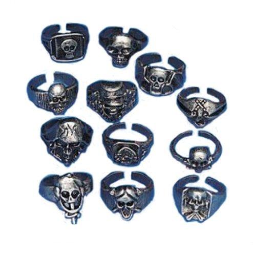 Lot of 12 Metal Skull Rings Kids Pirate Party Favors -