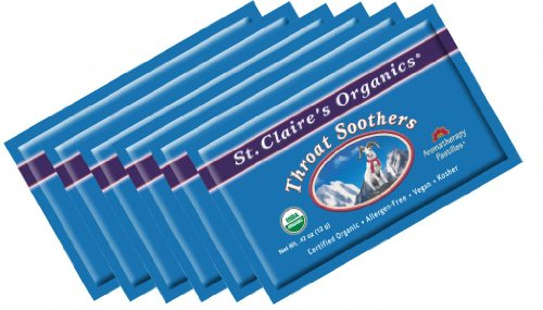 Soother Lozenges - St. Claire's Organics Throat Soothers, .42 oz Pocket-sized Pouch (Bundle of 6)