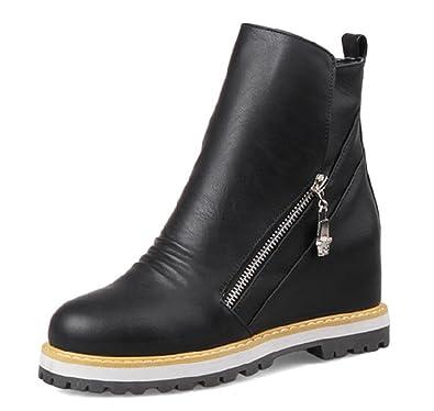 Aisun Damen Lederoptik Zipper Keilabsatz Erhöhung Stiefelette Ankle Boots  Schwarz 43 EU 9ca731434f