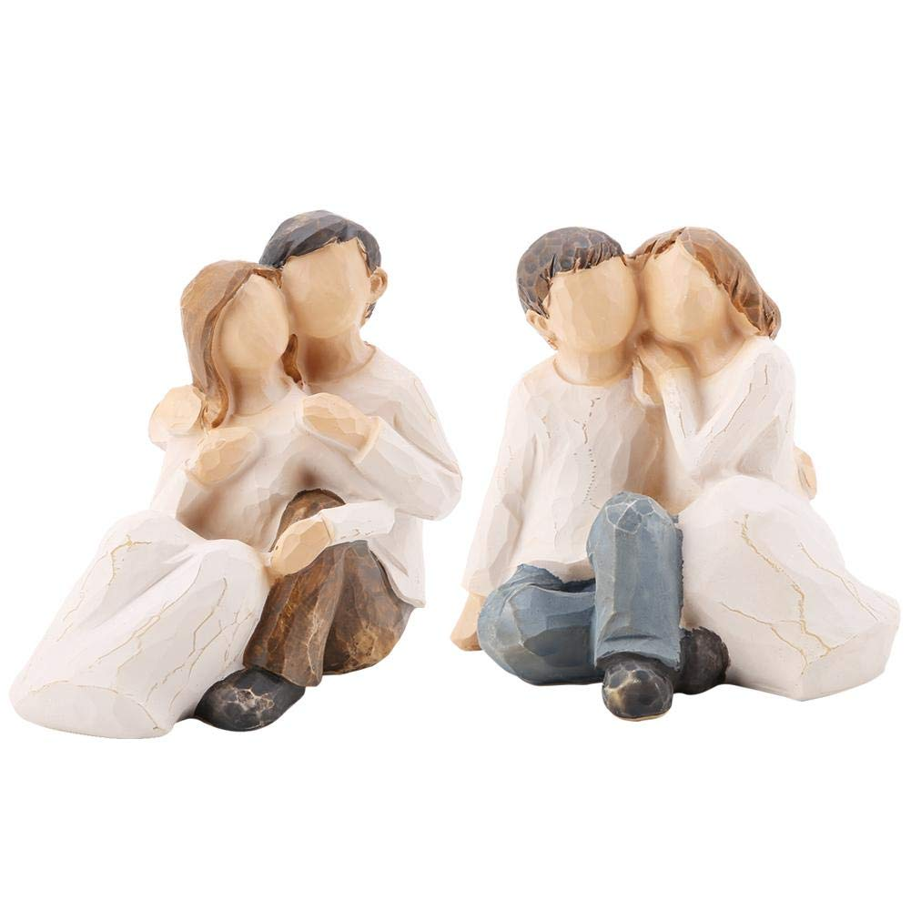 Wal front 2pcs Non-Rust Lightweight Hugging Couples Shape Resin Figurine Decoration Statue Model Sculptures Home Decor