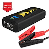 PEMENOL 24000mAh Car Jump Starter 800A Peak (up to 6.5L Gas, 5.0T/5.2L Diesel Engine) Portable Auto Battery Booster Jumper with Dual Smart Charging Ports, LED SOS Flashlight, Compass, Safety Hammer