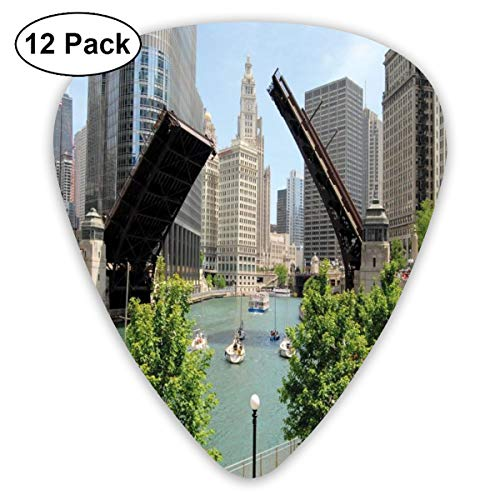 Guitar Picks - Abstract Art Colorful Designs,Downtown Chicago Illinois Finance Business Center Lake Michigan Avenue Bridge,Unique Guitar Gift,For Bass Electric & Acoustic Guitars-12 Pack ()