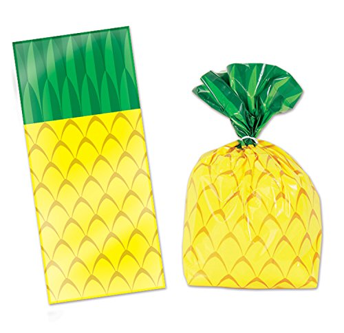 """50 pineapple cellophane bags and twist ties (25/pk) (2pk incl) - 4X9X2"""" by Bstl Co"""