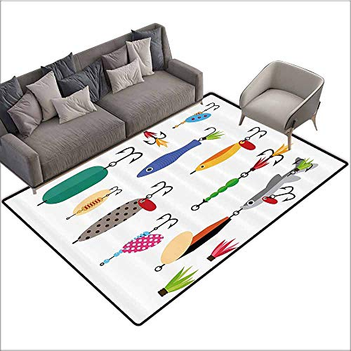 Polyester Rubber Door Mats Fishing Decor,Elements of Fishing Line with Stringer Net Bite Indicators Worms Waders Image,Multi 80