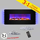 Golden Vantage 3-in-1 36'' Wall Mount & Freestanding Convertible 22 Level Adjustable Electric Fireplace Stove w/ Remote Control