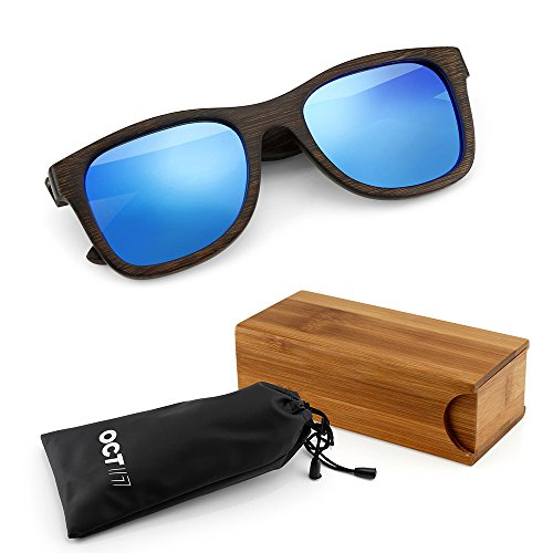 GEARONIC TM Polarized Wood Wooden Mens Womens Bamboo Vintage Sunglasses Eyewear with Bamboo box - Blue
