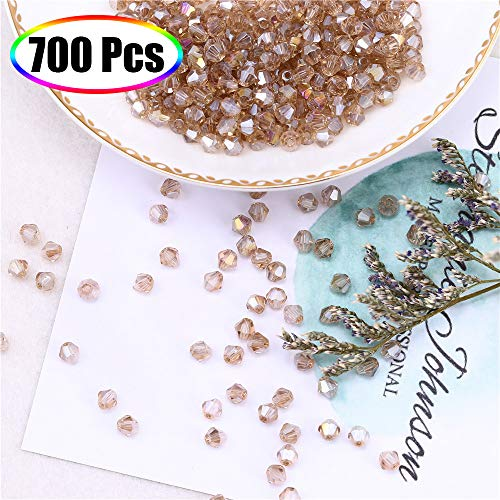 (Crystal Beads for Jewelry Making 4mm, XINFANGXIU 700Pcs Clear Glass Bicone Faceted Beads AB Light Topaz Wholesale for DIY Craft Bracelet Necklace Earring Jewelry Making )