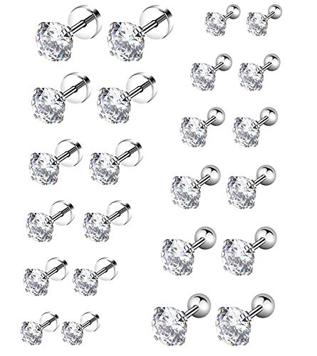 YOVORO 6 Pairs 20G Stainless Steel Stud Earrings for Men Women Cartilage Ear Piercings Helix Tragus Barbell 3-8mm (F: 20G 12 Pairs) ()
