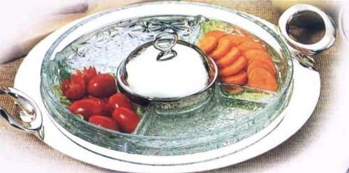 Uit Silver Plated/Glass 5 Compartment Divided Relish Dish With Centre Cover