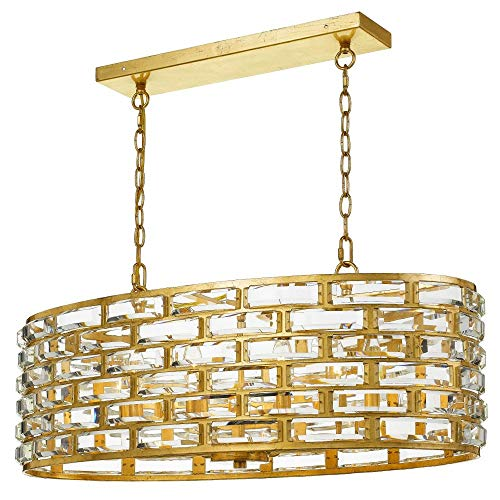 - Crystorama MER-4869-GA Meridian - Eight Light Chandelier, Antique Gold Finish with Faceted Cut Crystal