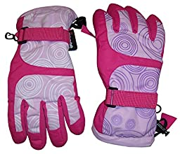 N\'Ice Caps Kids Magical Color Changing Thinsulate And Waterproof Ski Gloves (6-8yrs, fuchsia/pink/white change to fuchsia/pink/purple)