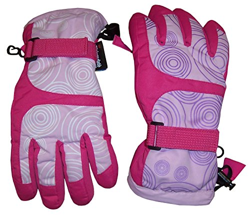 N'Ice Caps Kids Scroll Print Waterproof Thinsulate Insulated Winter Snow Gloves (Fuchsia/White - Color Changes in Sunlight to Fuchsia/Purple, 3-4 Years)