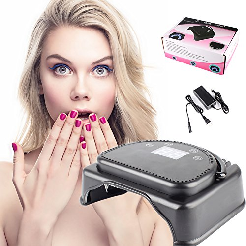 64W 32PCS LED Light Hand/Foot Nail Dryer Lamp Curing Machine Touch Sensor LCD Screen Lifting Handle US Plug (Black) by JaneDream