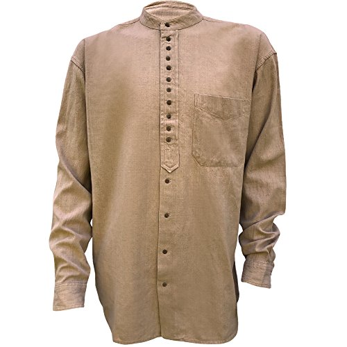 Irish Grandfather Collarless Shirt Tan Clay (Traditional Men Shirt)
