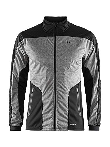 Craft Sportswear Men's Sharp Nordic Cross Country Skiing and Training Windproof Reflective Jacket, Dark Grey Melange/Black, Medium