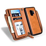 Hulorry Wallet Case for Galaxy S9 Protection Case with Card Slots Money Pocket Cover Zipper Wallet Purse Case Drop Resistant Smart Wallet Credit Magnetic Sleeve for Samsung Galaxy S9+