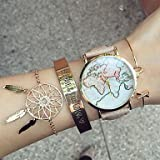 unisex style watch Fenkoo planisfero mappamondo marce/anno/vecchie-mappamondo Orologio da donna // premium-in ecopelle-Orologio da polso da donna