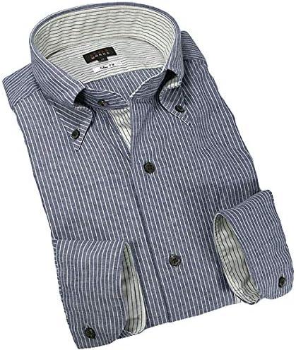 RSD600-050-0106-LL長袖ドレスシャツ スリムフィット 綿 コットン ボタンダウンカラー ネイビーシャンブレーストライプ LLサイズ首回り43cm 裄丈87cm