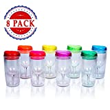 Top House Insulated Wine Tumbler With Lid, Acrylic Stemless Wine Glasses- 10 oz Assorted Colors, Bulk Pack of 8