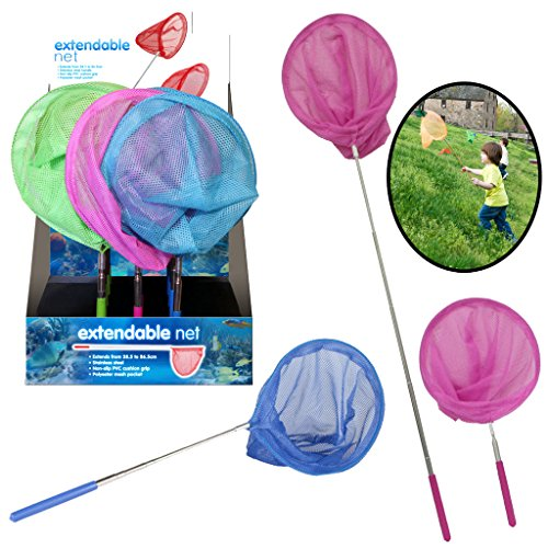 Kids Butterfly Fishing Net Childrens Insect Catch Mesh Fish Extendable Pole...