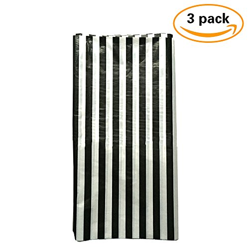 JINSEY Pack of 3 Plastic Black and White Stripe Print Tablecloths - 3 Pack - Party Picnic Table (Striped Table Cover)