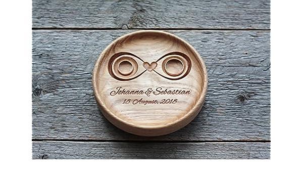 Anillo de bodas con nombres grabados y fecha, Caja para alianzas, Almohada portador del anillo, Caja de anillo