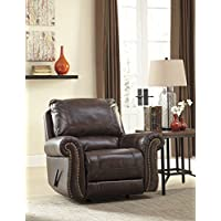 Bristan Walnut Color Traditional Classics Top-Grain Leather Rocker Recliner