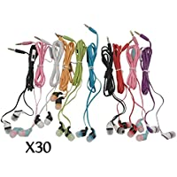 JustJamz Kidz 2.0 Color Call with Mic Stereo Earbud Headphones Mixed Colors - 30 Pack