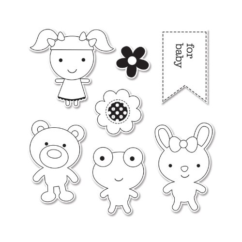 Sizzix Framelits Dies with Clear Stamps by Doodlebug, Baby Girl, (Baby Girl Clear Stamps)