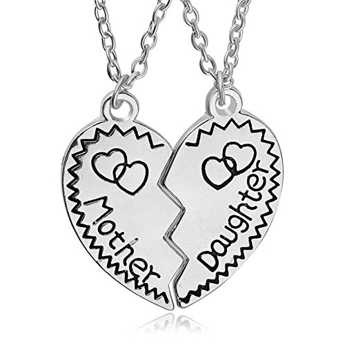 (Gifts for Daughter Mom 2pcs Mother Daughter Split Broken Heart Pendant Necklace Set Family Mom Daughter Gifts from Mother Daughter Silver)