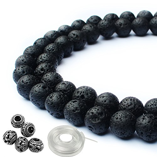 JPSOR Natural Round Black Lava Stone Beads for Jewelry Making, Metal Beads, with Thread & Pouch (Black)