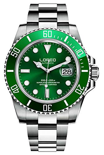 Mens Automatic Watch Sapphire Crystal Unidirectional Ceramic Bezel Diving Watch (Green)